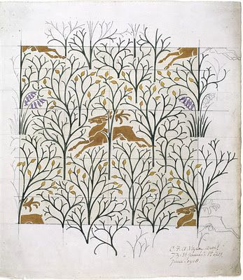 As a follow up to the Voysey holiday wares, I wanted to highlight several of the late-Victorian/Edwardian era textile designer's drawings and watercolors. The V & A owns examples of his partially colored in designs, and there is something appealing about the denser watercolor strokes contrasted against the spare pencil lines.