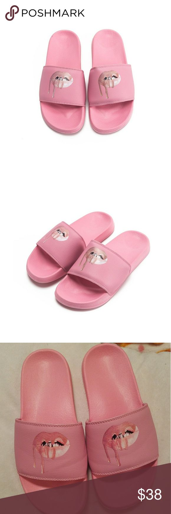 Kylie Jenner Slides Kylie Jenner slides. Never worn. 100% Authentic purchased from her website. Size 8 but I think the sizing runs a little small.  No trades. Offers are welcomed!! Kylie Jenner Shoes Sandals