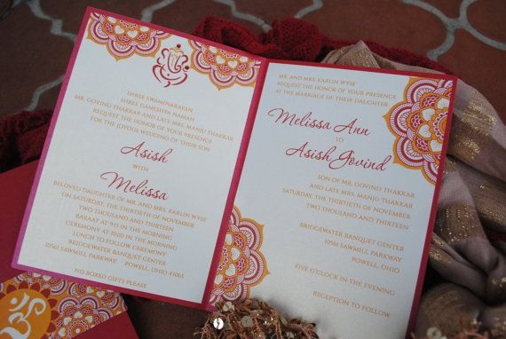 Indian Wedding Invitations Gold Red Orange by EmilysEventsEtc, $10.00