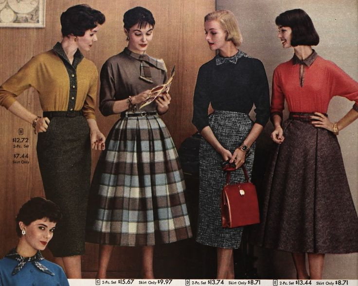 1957 Tweed pencil skirts plaid vintage fashion style 50s full sweater wool winter photo print ad models magazine brown tan black white blue
