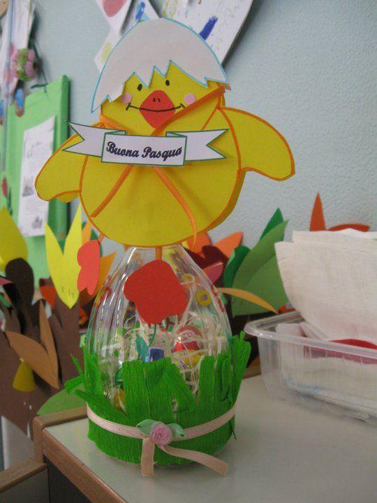 """Oggi dedico voglio dedicare questo """"spazio creativo"""" al lavoretto di Pasqua, naturalmente riciclando! Quello che serve è una bottiglia di plastica con collo ovale (tipo Ferrarelle, Lete…"""