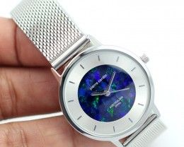 Classic Ladies Silver Watch Mosaic Opal