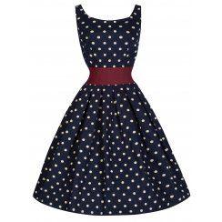 Lana' Playful Polka Dot 50's Style Dress With Cinch Waist Belt
