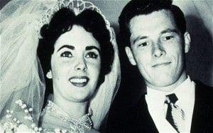 Elizabeth Taylor and Nicky Hilton at their wedding in 1950.