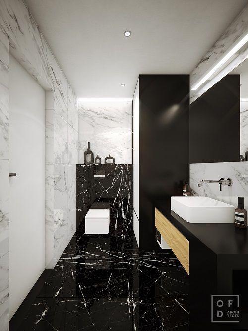 idee baie moderna alb negru marmura mobilier cu chiuveta