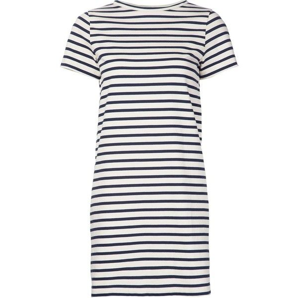 Mih Jeans striped T-shirt dress (£330) ❤ liked on Polyvore featuring dresses, vestidos, white, striped dress, white tee shirt dress, blue cotton dress, striped t shirt dress and t shirt dress