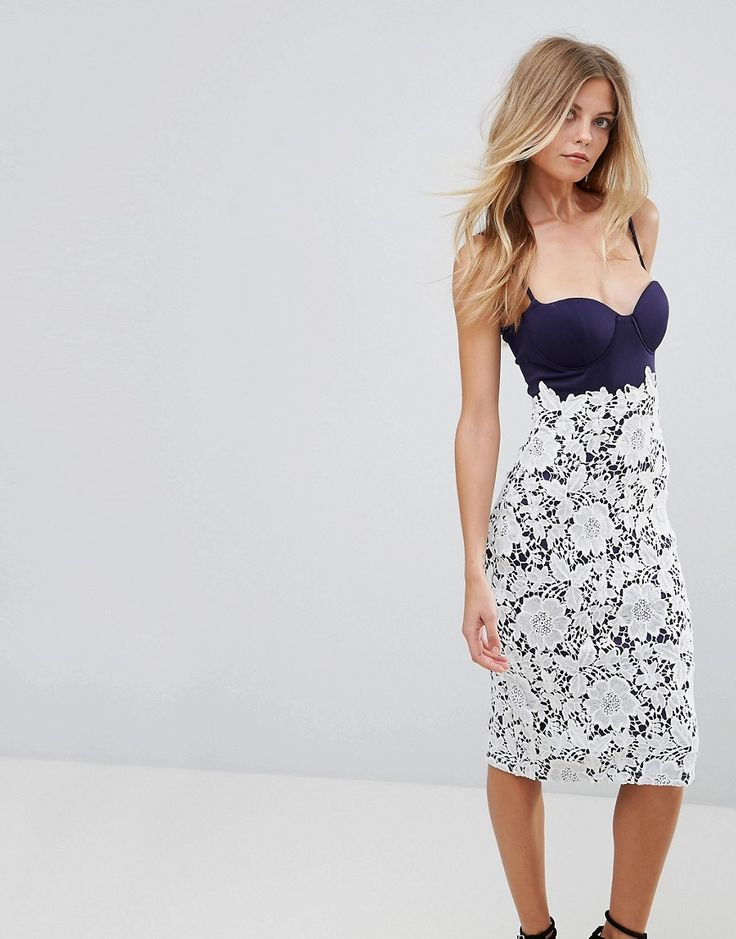 Girl In Mind Lace Bustier Midi Dress - Navy
