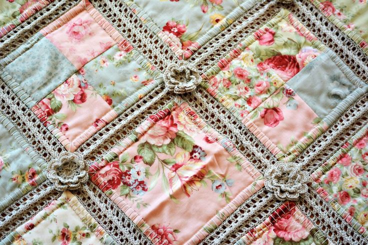 Crochet and fabric Quilt 3