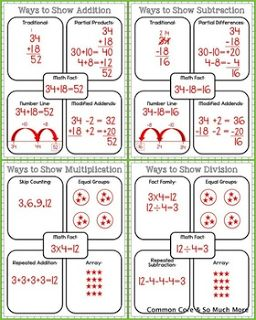 Common Core and So Much More:  Math Strategies Graphic Organizers that you can use when teaching basic facts of addition, subtraction, multiplication, and division.  What I like about these is that it takes one fact and requires the students to show how to solve the problem using four different strategies.  I always require my students to learn various methods of solving problems, but they can choose which to use on a test.   FREE