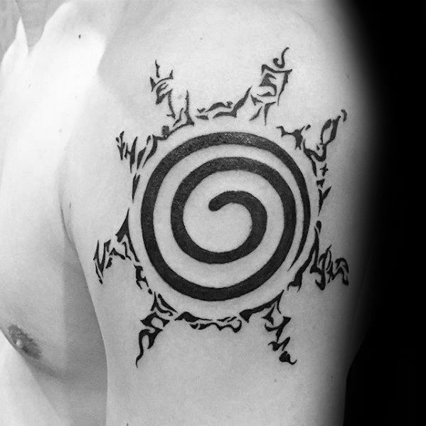Guys Naruto Symbol Upper Arm Black Ink Tattoo