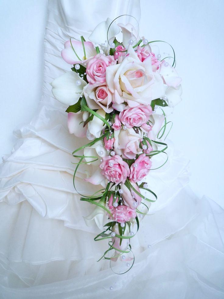 Bouquet de mariée cascade rose,rose blanc, calla , arum, et la boutonnière pour mariage (ref.bouquet-c013) : Accessoires de maison par fleur-angelique