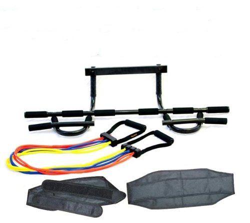 lion roar fitness u2013 set of allinone doorway chin up pull up bar xsafe adjustable resistance bandu2026