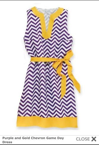Cute dress for those LSU games. I couldn't find the purple chevron material so I have it in yellow and white and a purchased purple ribbon. Hope to be wearing something like this on Saturday