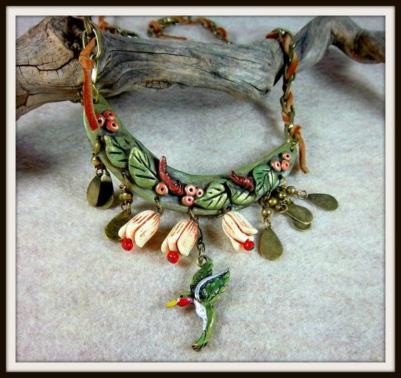 Hummingbird Bib Necklace Clay Leaves Berries by Barbarasartistry