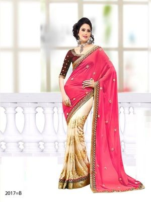 Pink , beige embroidered georgette saree with blouse