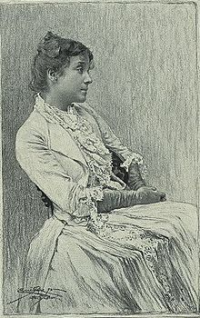 """Eleanora Duse, early in her acting career. Her biographer, Frances Winwar, records that Duse wore little make-up but, """"...made herself up morally. In other words, she allowed the inner compulsions, grief and joys of her characters to use her body as their medium for expression, often to the detriment of her health."""