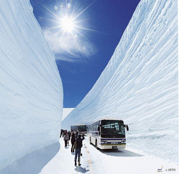 The Otani Snow Walls– 20 meter high walls of snow that can be toured between April and June. #Japan #Toyama #Nagano