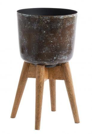 Plantestativ i træ og jern - H38 cm - mørkebrun - something like this might suit the pachira, if we can find it