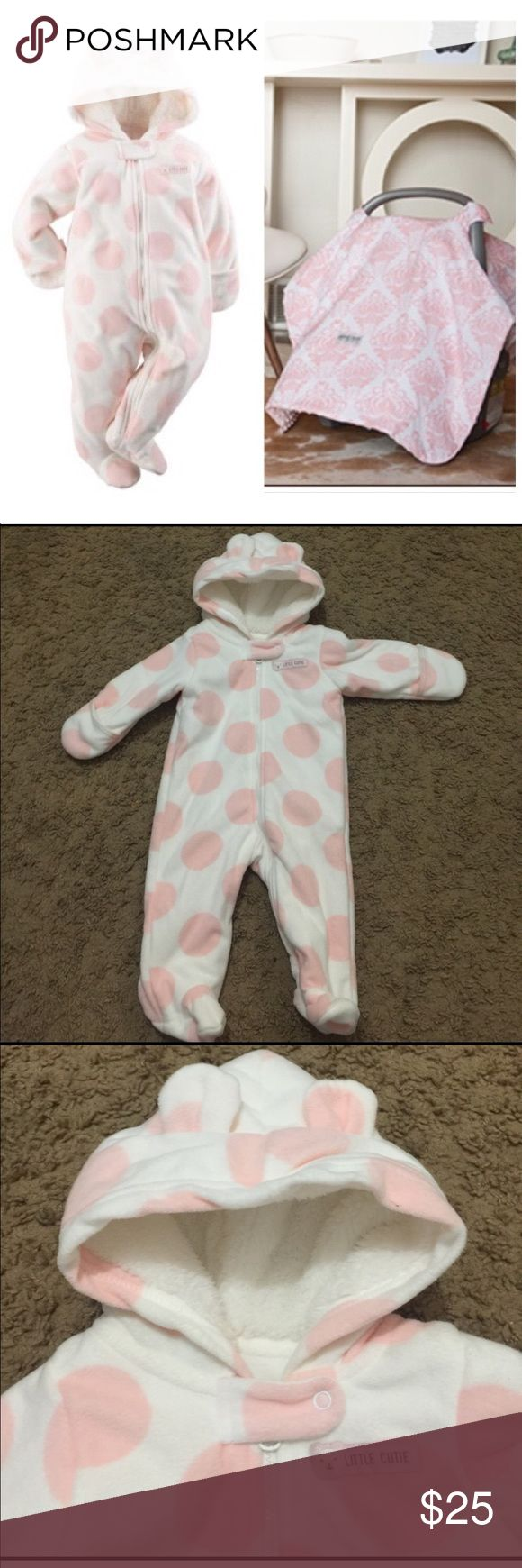 Baby girl snow suit and carseat canopy bundle Beautiful pink fleece snow suit for baby girl size 3mo in excellent condition AND brand new, never opened, Carseat Canopy in Angelina print. GREAT DEAL. Other