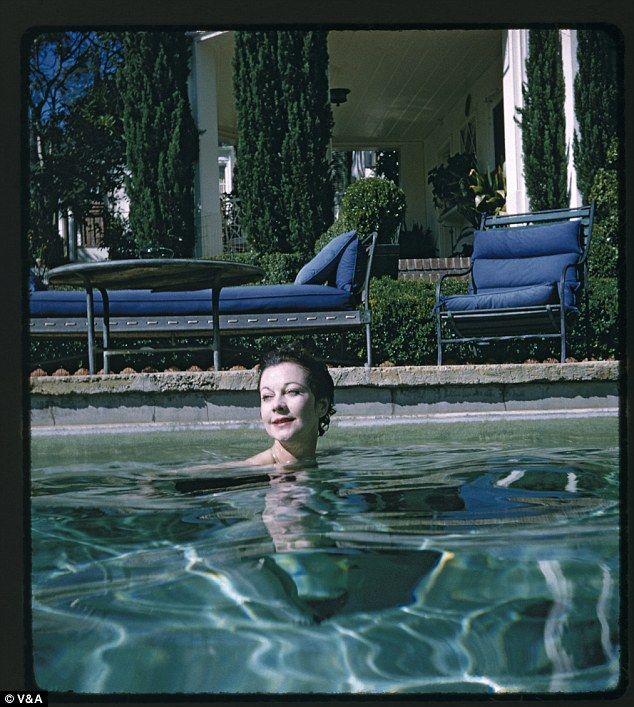Vivien Leigh is shown in George Cukor's pool in Hollywood, taken during the Duel of Angels tour, 1960