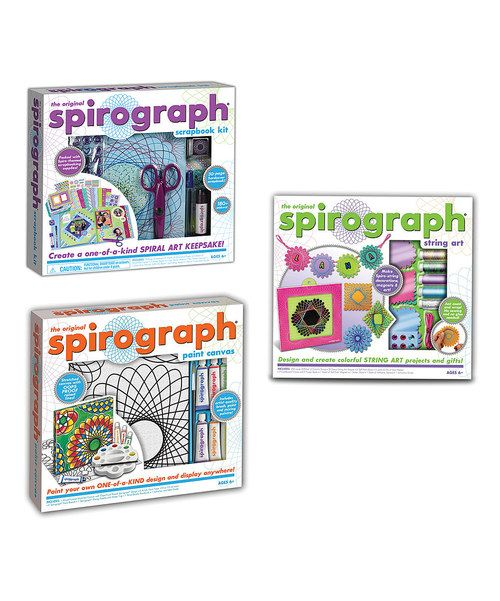 They still make these! Spirograph scrapbook kit, Spirograph string art kit and Spirograph paint canvas