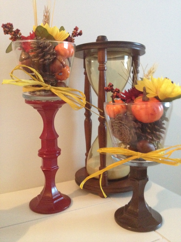 Fall decor DIY all items from dollar store candle stick holders glass votives filler speY paint.
