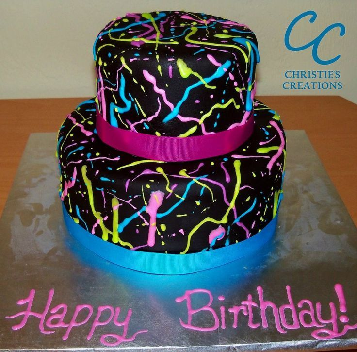Neon Birthday Cakes Top 20 Neon Birthday Cakes Dengan Gambar