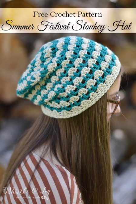 Crochet slouchy hats are always in style, and this one would be great to rock at a music festival!   Whistle and Ivy ~Summer Festival Slouchy Hat {Free Crochet Pattern}