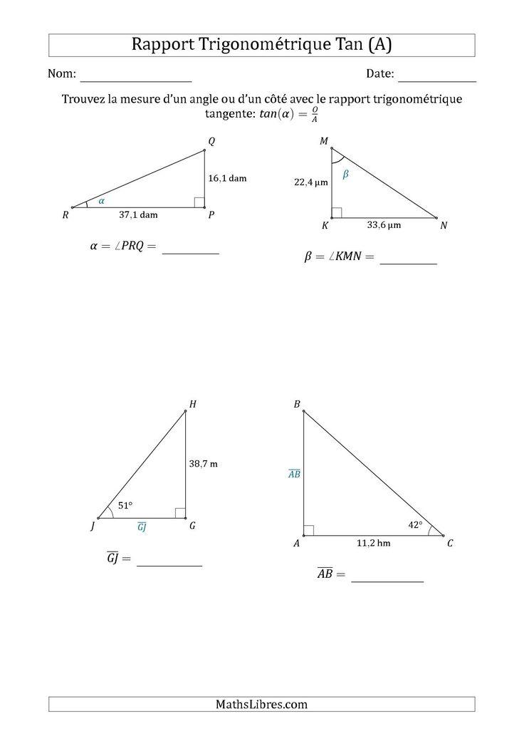 La Calcul de la Mesure d'un Angle ou d'un Côté Avec le Rapport Trigonométrique Tangente (A) Fiche d'Exercices sur la Géométrie