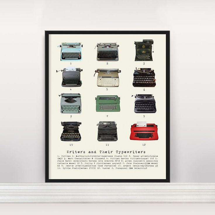 Writers and Their Typewriters - Literary Poster - History of Literature - History of Typewriters - Typewriter Poster - Info Graphic - Plath by Typologies on Etsy https://www.etsy.com/listing/170816200/writers-and-their-typewriters-literary