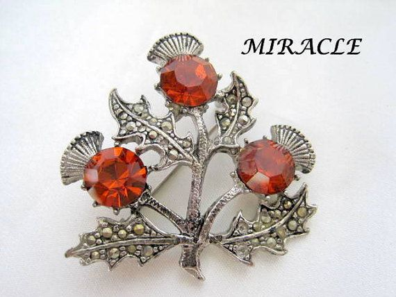 Vintage Miracle Cairngorm Celtic Thistle Brooch.