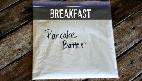 Camping pancakes! Freeze batter in a gallon zip lock bag & by the time u need it it's thawed & ready. Just snip the tip off the corner of the bag & voila!