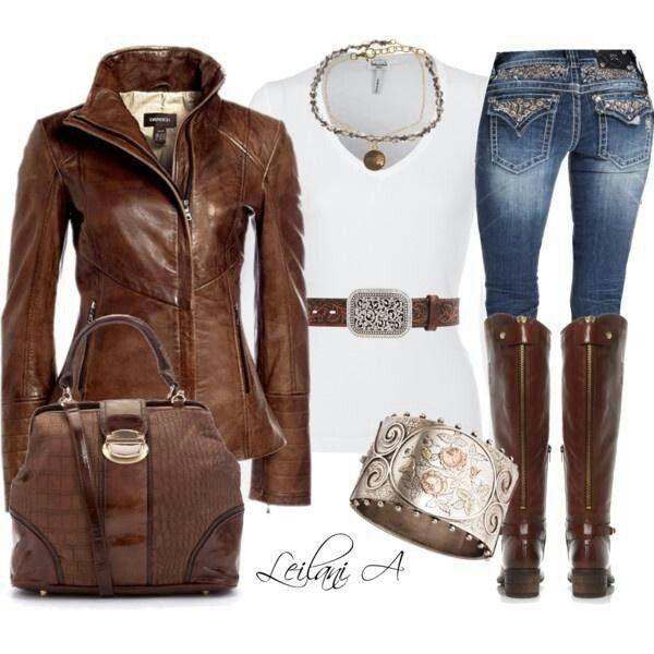 Chamarra y botas d piel cafe | Q buen look | Pinterest | D