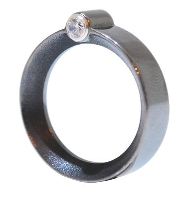 Black Rhodium Ring: The beauty of this ring lies in it's subtlety. The rhodium plated silver band is elegantly finished off with two brilliant cut crystals that sit in a double ended tube setting.