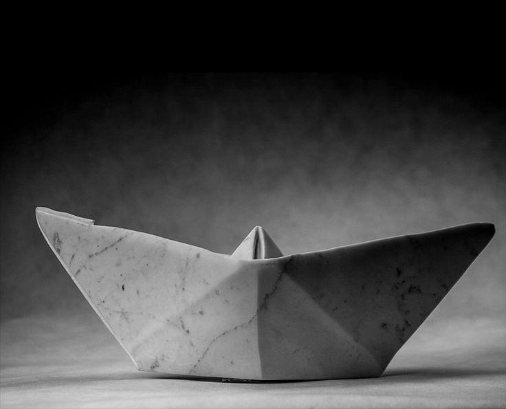 Michal Jackowski, 48 x 22 x 19 cm, Carrara white marble, 2015  #sculptures #humans #antique #pinart #creative #passion #love #art #classic #boat #black