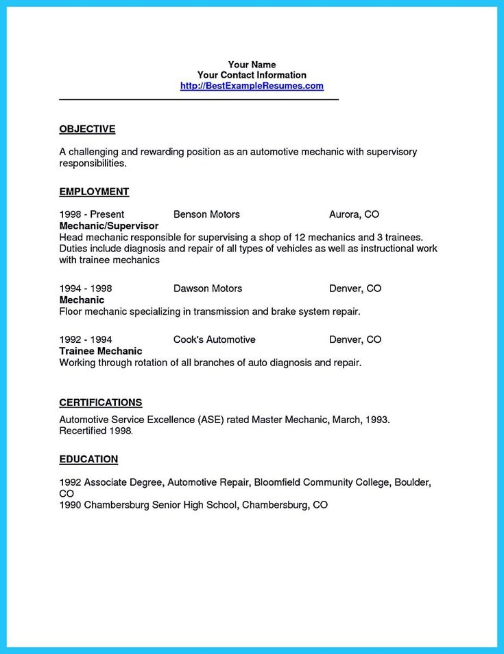 awesome Writing Your Great Automotive Technician Resume,