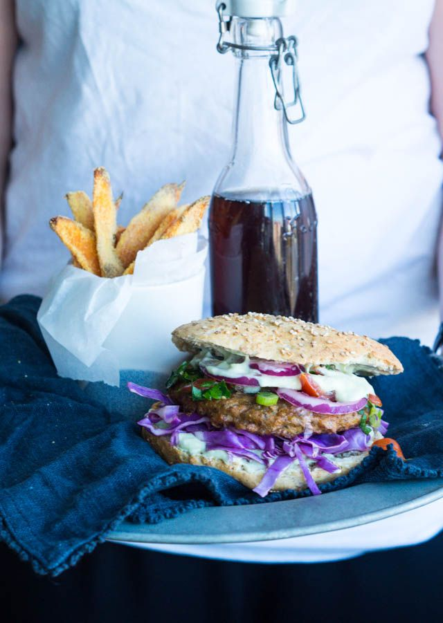 Falafelburger med sweet potato fritter :-D