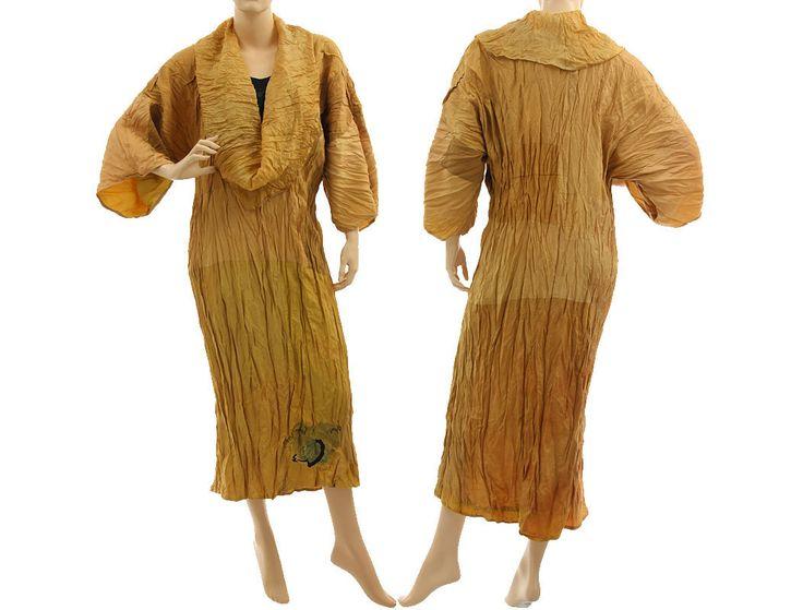 Lagenlook boho dress large collar, crushed silk in yellow shades L-XL