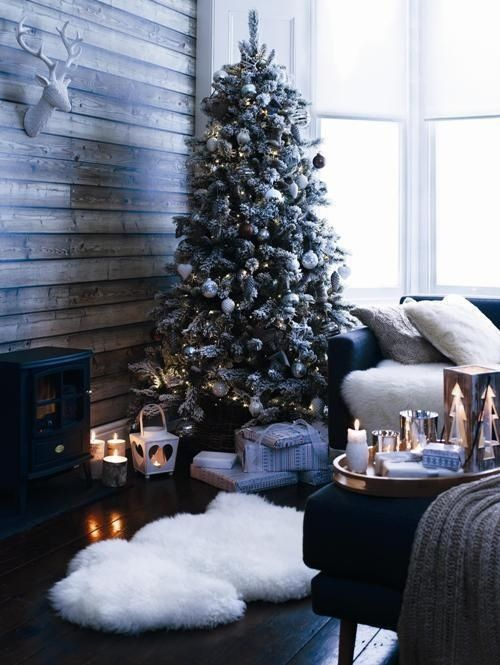 Holiday heaven. Get the look with a shearling rug and lots of candles.