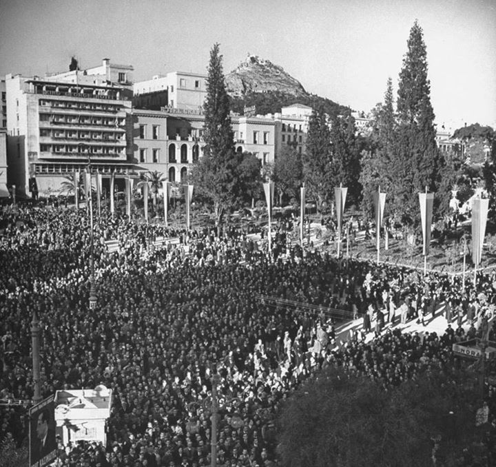 1946 ~ Election rally in Syntagma square, Athens