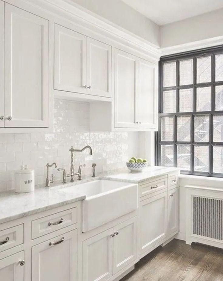 √30 shabby chic farmhouse kitchen cabinets makeover ideas ...