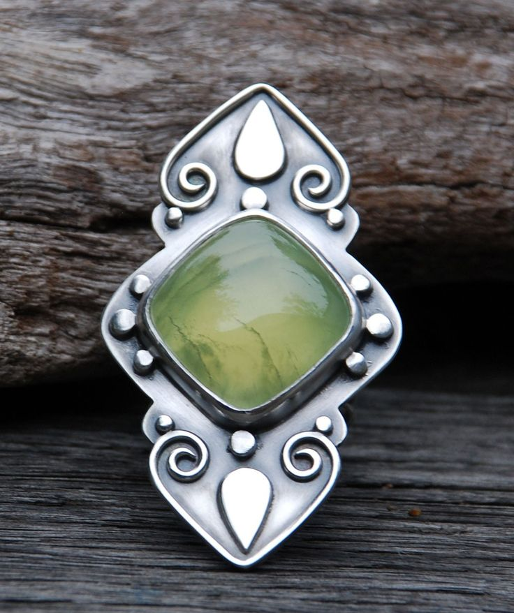 Ring | Spiral Stone Designs. Sterling silver and prehnite.