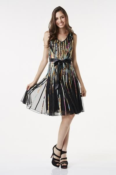 Multi-coloured Ribbon Midi Dress. This sleeveless mesh occasion dress features a V neck, bra cup inserts and a waist-accentuating satin bow. Embellished with multi-coloured ribbons, this classic style is fully lined. Completed with a full bodied skirt, the dress is fastened with a concealed zip at the back