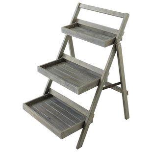 Garden ladder shelf, grey Etretat