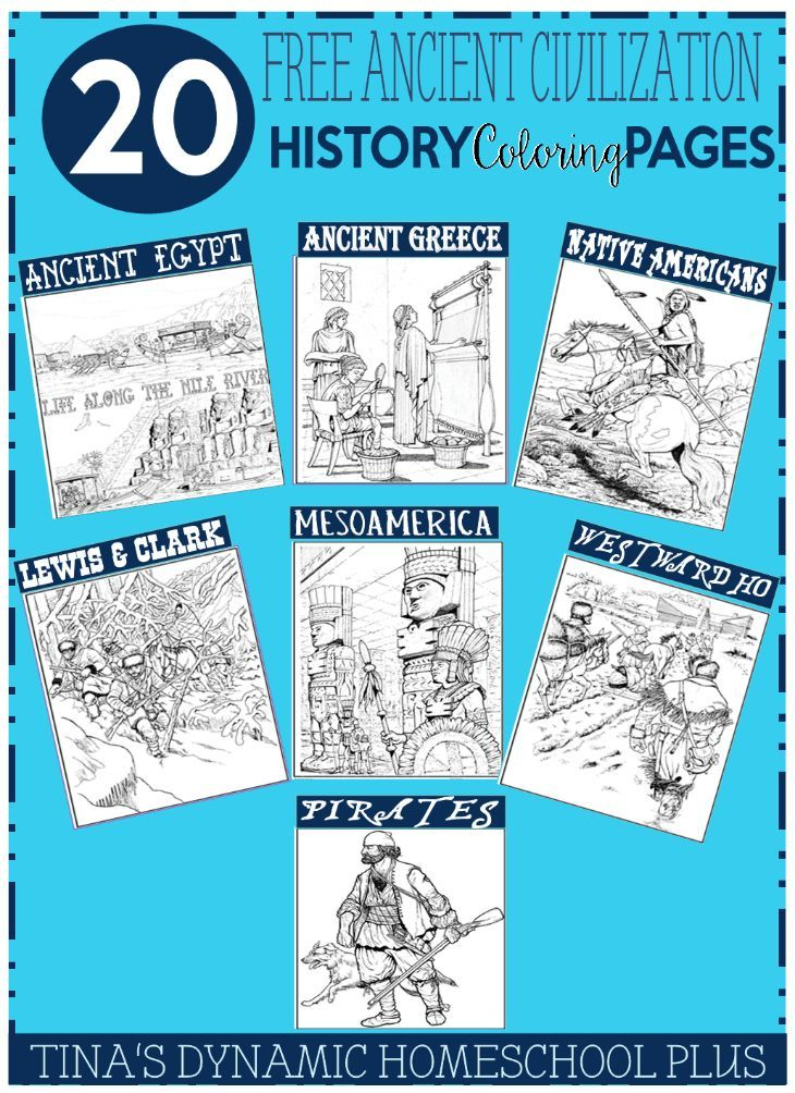 20 Free Ancient Civilization History Coloring Pages @ Tina's Dynamic Homeschool Plus
