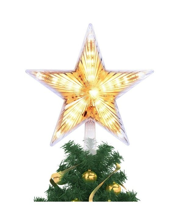 8 Inch Lighted Christmas Tree Topper Classic 5 Point Star Treetop With 20 Led Warm White Clear Light For Christmas Tree Decoration C618hxmeoi4 Christmas Tree Toppers Lighted Christmas Tree Star Topper Christmas Tree Decorations