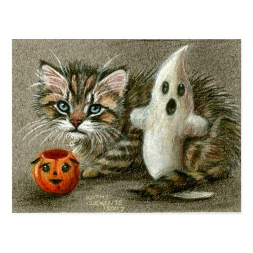 Halloween Postcard Cat Kitten Ghost Pumpkin Art