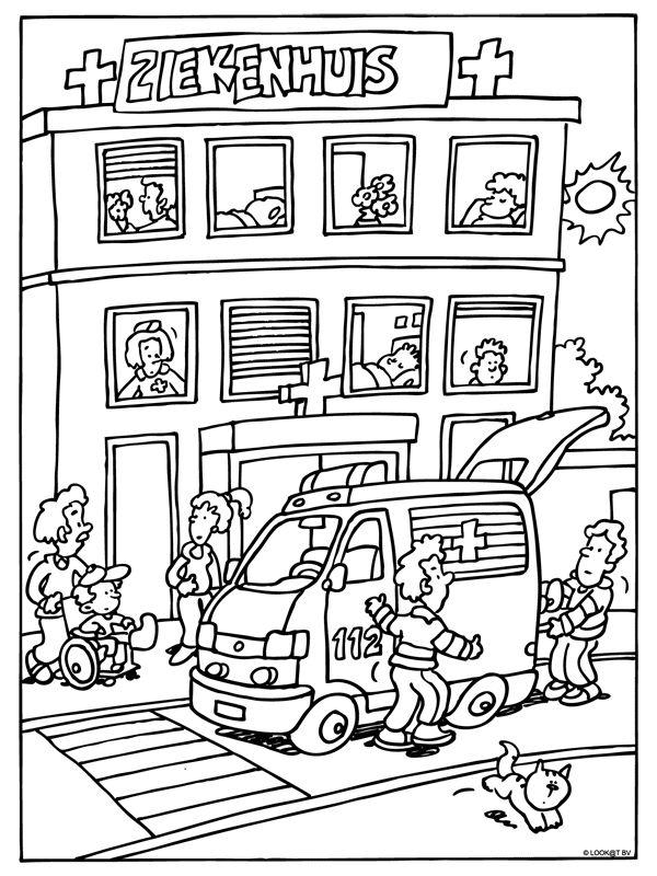 Kleurplaat Ziekenhuis - ambulance - Kleurplaten.nl