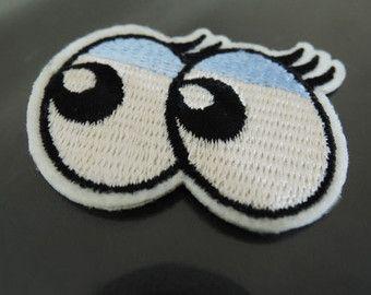 Hierro en Patch - parche en el ojo de la historieta luz ojo azul parches globo ocular hierro en apliques bordado parche cose en el remiendo