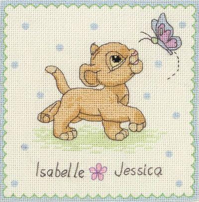 Disney Lion King Simba Name Sampler Baby Birth Record Cross Stitch DPST014 | eBay